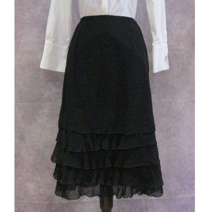 NEW Indira Black Tiered & Ruffled Skirt Size S